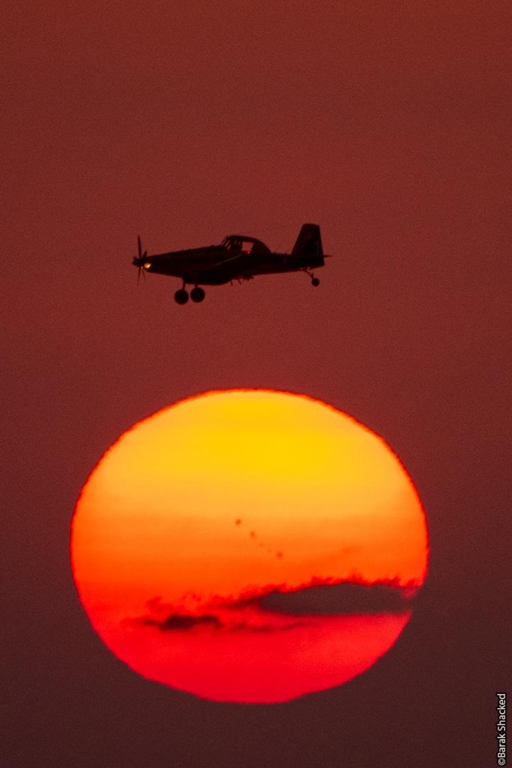 מטוס מעל השמש בשעת שקיעה